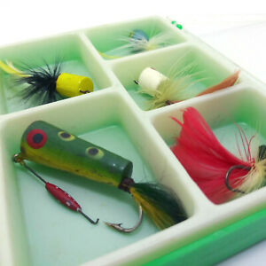 Vintage Fishing Lures with Box, Hand Painted Wooden Poppers Hand Tied Fish Lures