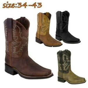 Mens Fashion Retro PU Leather Floral Square Toe Cowboy Western Boots Shoes 6986