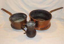 Vintage Set of 3 / Antique Hand Hammered Copper Pot / Kettle / Bowl Cand