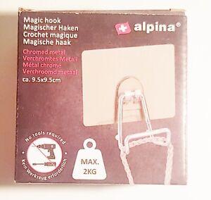 Magischer Haken ALPINA 9,5x9,5cm Max 2 Kg Verchromtes Metall Halter Chrom 1A NEU