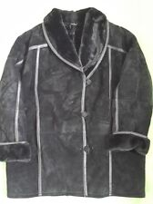 Women's Gallery Black Shearling Winter Coat Size L - may fit XL and 1X