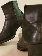 Timberland Women's 'Alyse' Black Leather Block Heels Boots shoes (#62317). STYLE