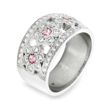 Pave Diamond and Pink Sapphire Flower Ring in Platinum | FJ