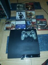 Sony PlayStation 3 PS3 Slim Console with Sony Wireless Controller An 8 games
