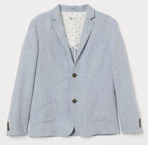 H&M kids boys linen blue suit blazer jacket