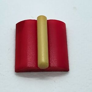 Celluloid Hors d'oeuvres Button ~ Cream Extruded Rod on Red Square, NBS Large
