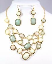 D17  Acrylic Multi Dome Shape Pebble Green Ivory Cluster Necklace Earrings