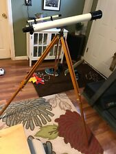 Vtg Sears Refractor Telescope 60mm x 700 Wooden Adjustable Tripod With Box