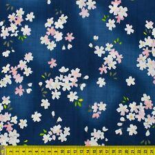 Fat quarter Japanese Sakura cherry blossom on navy blue cotton fabric FQ F0070