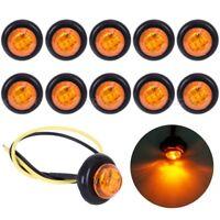 "10X Mini Amber 3/4"" Round Side 3 LED Marker Trailer Car Bullet Light Waterproof"
