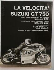Pubblicità epoca 1972 MOTO SUZUKI GT 750 MOTOR old advertising publicitè werbung