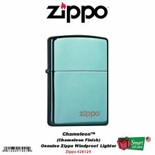 Zippo Logo Chameleon Lighter, Green/Blue Finish, Windproof #28129ZL