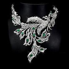 Collier, Smaragd & CZ, 925 Sterling Silber, Weißgold Plattiert, Pfauhalskette