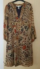 Authentic DVF silk smock dress empire line oriental print