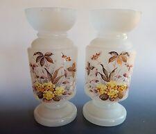 Bristol Victorian Satin Glass Set of 2 Vases Floral Enamel
