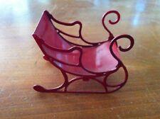 Dollhouse miniature Red Metal Sleigh Christmas Holiday