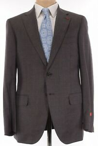 ISAIA NWT Suit Size 46R In Brown W/ Blue Plaid Light Flannel Wool Sanita $3,995