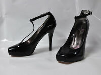 "Paris Hilton ""Brandy"" black patent hi-heel t-strap pump - Size 11, 5"" heel -"