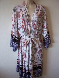 LINEA DONATELLA Short Border Print Wrap robe  Size S/M