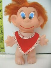 "Vintage Doll Made In Hong Kong 6"" Tall Silly big eyed red hair figure"