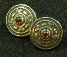 RED GARNET Round .925 STERLING SILVER 22K Gold Accent POST Stud EARRINGS