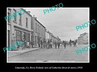 OLD LARGE HISTORIC PHOTO OF LIMAVADY DERRY IRELAND, CATHERINE ST & STORES c1910