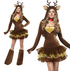 Adult Lady Christmas Reindeer Costume Halloween Cosplay Party Fancy Dress Outfit