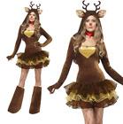 Women Christmas Reindeer Costume Halloween Cosplay Party Deer Fancy Dress Outfit