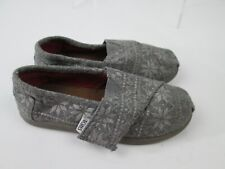 Toms Classic Toddler Shoes Sz 10 Grey Snowflake Fabric Slip On Flats