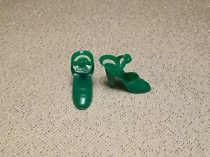 VTG Mattel Superstar Barbie Doll Green Korea Ankle Strap Shoes Rare Color!