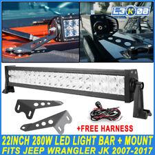 22Inch 280W LED Work Light Bar + Hood Mount Bracket For Jeep Wrangler JK 2007-17