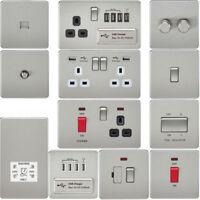 Full Range Brushed Satin Chrome Flat Sockets Switches Dimmers Metal Rocker