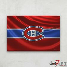 """36""""X24"""" Montreal Canadiens - 3D Badge over Silk Flag Open Edition Print"""