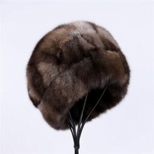 Unisex Winter Warm 100% Sable Fur Hat Men's Bucket Cap Women's Luxury Beanies