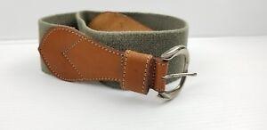 Gap Olive Green Stretch Canvas Leather Trim Wide Waist Belt Size L