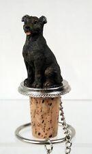 Staffordshire Bull Terrier Dog Hand Painted Resin Figurine Wine Bottle Stopper