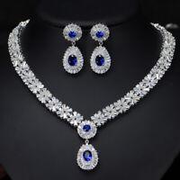 CWWZircons Roayl Blue Cubic Zirconia Women Earrings Necklace Costume Jewelry Set