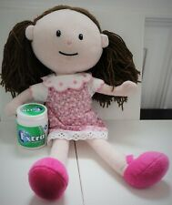 Matalan Girls Plush Doll,16 Inch,Pink Dress&Shoes,Brown Woolen Hair,Toy,Play