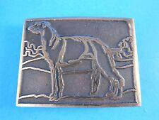 "Vintage Wolfhound Dog UB Solid Bronze Cast Belt Buckle 3"" X 2.25"""