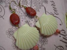 Orecchini corallo e conchiglie earrings vintage