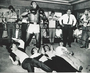 Muhammad Ali 8x10 photo playing with the Beatles in the ring