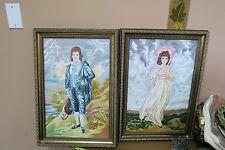 "Set of 2 Vintage Bunka Embroidery Needlework Framed 13"" x 20"" - 16"" x 23"""