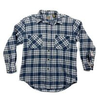 St Johns Bay Mens Large Tall Blue Plaid Heavy Flannel Long Sleeve Button Shirt