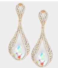 "3"" BiG Long Crystal Gold AB Clear Rhinestone Earrings Dangle Chandelier CLIP ON"