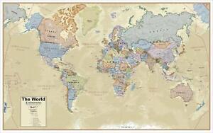 Hemispheres Boardroom Series World Wall Map, Educational Giant Poster 61x38