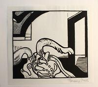 FLORENZ BUSCH - ohne Titel (1970). Handsignierter Linolschnitt.
