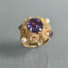 Magnificent Art Nouveau Gold, Amethyst,  Diamond & Pearls Ring