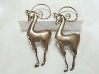 Vintage Art Deco Sterling Mexico Deer Gazelle Lama Pins & Earrings Set