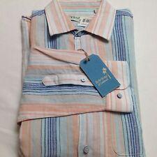 Caribbean Buttondown Shirt Long Sleeve Men L Striped Orange Linen Blend $89.50