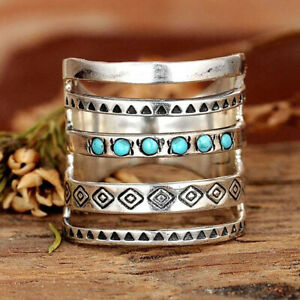 Boho 925 Silver Ring for Women Turquoise Rings Handmade Carved Jewelry Size 6-10